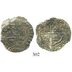 Potosi, Bolivia, cob 2 reales, Philip II, assayer L, Grade 2, rare.
