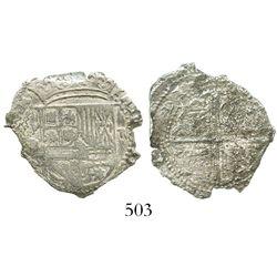 Potosi, Bolivia, cob 2 reales, Philip II, assayer C under erasure, Grade 4, very rare.