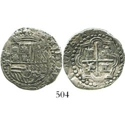 Potosi, Bolivia, cob 2 reales, Philip II, assayer R (Ramos), choice Grade 1.