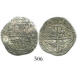 Potosi, Bolivia, cob 2 reales, Philip III, assayer R, Grade 1.