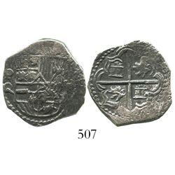 Potosi, Bolivia, cob 2 reales, Philip III, assayer Q, Grade-1 quality but no Grade on certificate.