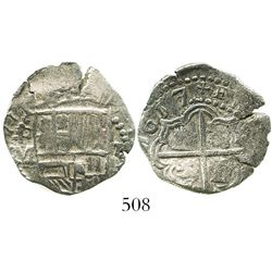 Potosi, Bolivia, cob 2 reales, 1617M, bold full date (rare), Grade 1.