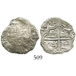 Potosi, Bolivia, cob 2 reales, 1617(M), full date (rare), Grade 1.