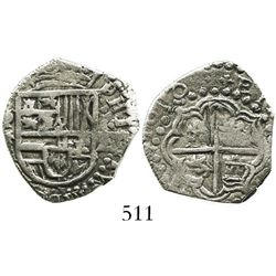 Potosi, Bolivia, cob 2 reales, 1618T, Grade-1 quality but Grade 2 on certificate.