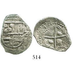 "Potosi, Bolivia, cob 2 reales, dated ""1612"" (1621), assayer not visible (T), Grade 2, rare."