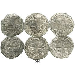 Lot of 3 Potosi, Bolivia, cob 2 reales, Philip II, assayer B or not visible, Grades 2 (2) and 3 (1).
