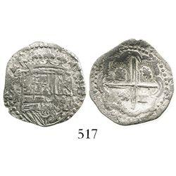 Potosi, Bolivia, cob 1 real, Philip III, assayer R, Grade 1, rare denomination from this wreck.