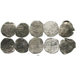 Lot of 5 cob 8 reales (one Mexico and four Potosi) of Philip III, various assayers (where visible),
