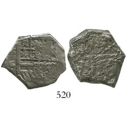 Seville, Spain, cob 4 reales, Philip III, assayer G, Grade 2, erroneously attributed as a Potosi 2R