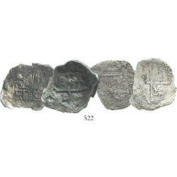 Lot of 2 Mexico City, Mexico, cob 4 reales, Philip III, Grades 3 and 4.