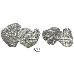 Lot of 2 small silver-cob fragments (Mexico 2R[?] and Potosi 1R[?]), Grade 5.