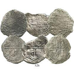 Lot of 3 Potosi, Bolivia, cob 8 reales, Philip III, assayers not visible, Grades 2, 3 and 4.