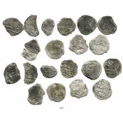 Lot of 10 Potosi, Bolivia, cob 4 reales, Philip III, various assayers (where visible), all Grade 3.