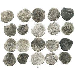 Lot of 10 Potosi, Bolivia, cob 4 reales, Philip III, various assayers (where visible), mostly Grade