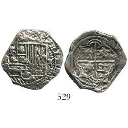 Potosi, Bolivia, cob 2 reales, Philip II, assayer B (5th period), Grade 1.