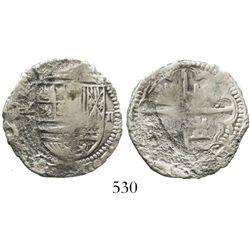 Potosi, Bolivia, cob 2 reales, Philip II, assayer not visible, Grade 3.