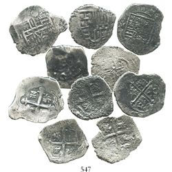 Lot of 5 Mexico City, Mexico, cob 2 reales, Philip II, III and IV, assayers not visible.