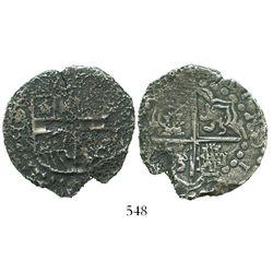 Potosi, Bolivia, cob 8 reales, Philip III or IV, assayer T.