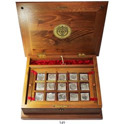 Large promotional wooden chest containing 15 cob 8R, 4R and 2R (one Potosi, the rest Mexico), with l