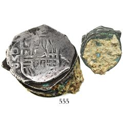 Clump of 5 Mexico City, Mexico, cob 4 reales, Philip IV, top one with partial date and oMP visible,