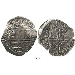 Potosi, Bolivia, cob 8 reales, 165(0)O, with crowned-L countermark on cross.