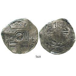 Potosi, Bolivia, cob 8 reales, (1651-2)E, with crown-alone countermark on shield.