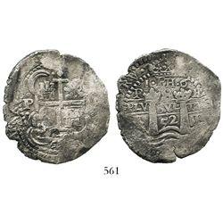 Potosi, Bolivia, cob 8 reales, 1652E post-transitional (Type VIII/B), 1-dot-PH-dot-6 at top, rare va