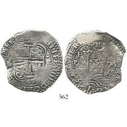 Potosi, Bolivia, cob 8 reales, 1653E, dot-PH-dot at top, ex-Armstrong.
