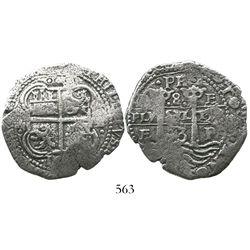 Potosi, Bolivia, cob 8 reales, 1653E dot-PH-dot at top.