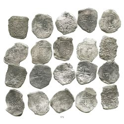 Lot of 10 Mexico City, Mexico, cob 8 reales, Philip IV, assayer P (where visible).