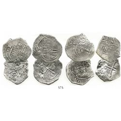 Lot of 4 Mexico City, Mexico, cob 4 reales, Philip IV, assayer P (where visible).