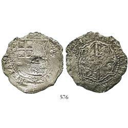 Potosi, Bolivia, cob 8 reales, 1651E, with crowned-dot-F-dot countermark on shield.