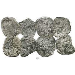 Lot of 4 Potosi, Bolivia, cob 8 reales, Philip IV, assayers O and E (where visible), all with counte
