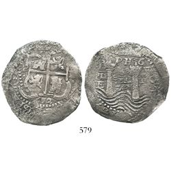 Potosi, Bolivia, cob 8 reales, 1652E post-transitional (Type VIII/B), 1-dot-PH-dot-6 at top.