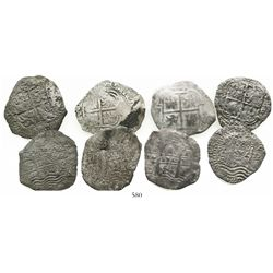 Lot of 4 Potosi, Bolivia, cob 8 reales, 1654E or date not visible.