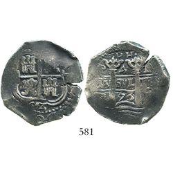 Potosi, Bolivia, cob 4 reales, 1653/2E, dot-PH-dot at top, rare overdate.