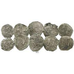 Lot of 5 Potosi, Bolivia, cob 4 reales, assayer E, dated 1653 and 1654.