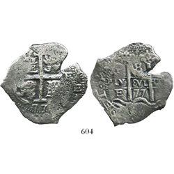 Potosi, Bolivia, cob 8 reales, 1677E.