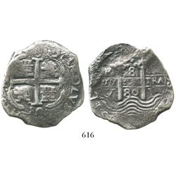 Potosi, Bolivia, cob 8 reales, 1680V.