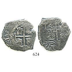 Potosi, Bolivia, cob 4 reales, 1668E.