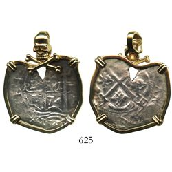 Potosi, Bolivia, cob 4 reales, 1674E, mounted pillars-side out in 14K pendant-bezel with skull-and-c