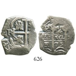 Potosi, Bolivia, cob 4 reales, 1675E.