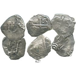 Lot of 3 Potosi, Bolivia, cob 4 reales, 1678E.