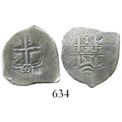 Potosi, Bolivia, cob 1 real, 1661E, with 661 below cross.