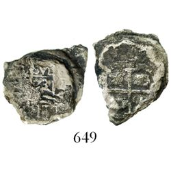 Small clump of three Potosi, Bolivia, cob 1R, one dated 1673( E).