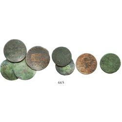 Lot of 8 small French copper coins of the mid-1600s.