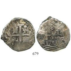 Lima, Peru, cob 8 reales, 1702H.