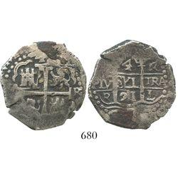 Lima, Peru, cob 4 reales, 1691R, very rare.