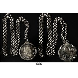 London, England, 1/2 crown, Charles II, 1671, mounted in sterling silver bezel with chain.