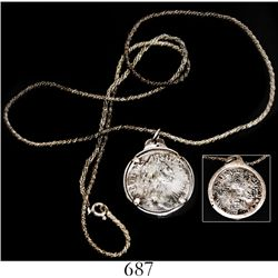 London, England, shilling, William III, 1696, mounted in sterling silver bezel with wire chain.